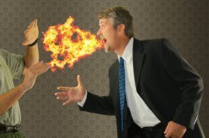 man talking fire exiting mouth